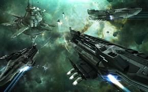 Картинка туманность, станция, астероиды, Космос, space, руины, битва, космический корабль, eve online, battle, space ship, космоопера