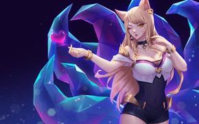 Картинка девушка, сердечко, хвосты, Ahri, League Of Legends