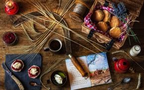 Картинка стол, корзина, лампа, нож, чашки, книга, колосья, банки, натюрморт, нитки, серп, выпечка, варенье, булочки, ложки