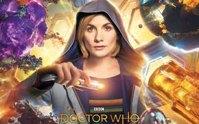 Обои взгляд, женщина, капюшон, Doctor Who, Доктор Кто, Jodie Whittaker, звуковая отвёртка, Джоди Уиттакер, Тринадцатый Доктор, ...
