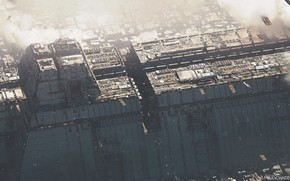 Картинка Город, Будущее, City, Fantasy, Арт, Транспорт, Aerial view, LA, Paul Chadeisson, by Paul Chadeisson, Los …