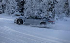 Картинка снег, серый, Porsche, в движении, 2020, Taycan, Taycan 4S