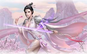 Картинка девушка, цветы, весна, меч, азиатка