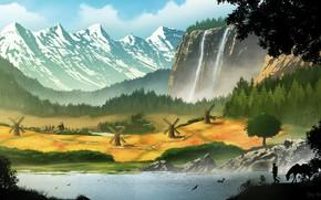 Картинка горы, водопад, долина, мельницы, Village commission