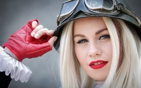 Картинка взгляд, лицо, стиль, рука, макияж, очки, каска, косплей, Harley Quinn, Lolita Ward