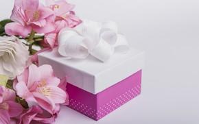 Картинка цветы, подарок, лилии, лента, розовые, pink, flowers, romantic, gift, lily