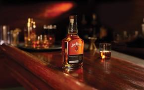 Картинка бокал, бутылка, вечер, бар, виски, Jim Beam
