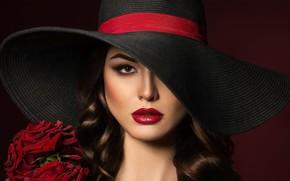 Картинка взгляд, девушка, цветы, розы, шляпа, макияж, губы