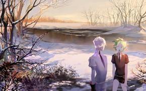 Картинка осень, озеро, девушки, Houseki no Kuni, Страна Самоцветов