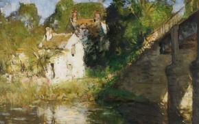 Картинка пейзаж, дом, река, картина, МОСТ, Пьер Эжен Монтезин, Pierre-Eugene Montezin