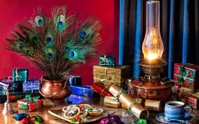 Картинка стиль, лампа, кофе, Рождество, конфеты, подарки, Новый год, пирожное, павлиньи перья