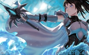 Картинка девушка, меч, доспехи
