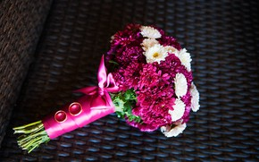 Картинка букет, лента, хризантемы, цветты