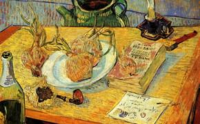 Картинка письмо, стол, свеча, спички, трубка, чайник, лук, книга, Vincent van Gogh, Pipe, шанпанское, Still Life …