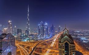 Картинка небо, ночь, город, огни, туман, вид, здания, башня, небоскребы, вечер, освещение, дымка, Дубай, архитектура, мегаполис, …
