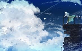 Картинка небо, девушка, облака, птицы, балкон