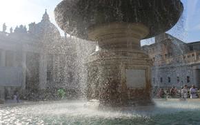 Картинка вода, площадь, фонтан, рим, ватикан, напор