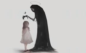 Картинка жертва, кости, Смерть, серый фон, малышка, art, черный плащ, саван, благословение, Death Angel, глазницы, сереп, ...