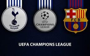 Картинка wallpaper, sport, logo, football, Barcelona, UEFA Champions League, Tottenham Hotspur, Tottenham Hotspur vs Barcelona