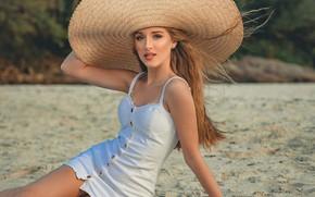 Картинка девушка, природа, шляпа, платье, шатенка