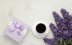 Картинка подарок, кофе, чашка, сирень