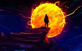 Картинка fire, night, art, sun, man, digital art, artwork, silhouette, sphere, painting art, Sephiroth Art
