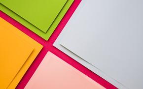 Картинка green, геометрия, design, yellow, pink, Colorful, papers, material