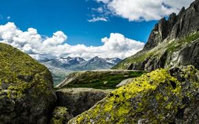 Картинка небо, облака, горы, природа, синева, камни, скалы, вершины, Швейцария