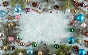 Картинка украшения, шары, Рождество, Новый год, new year, Christmas, balls, wood, decoration, frame, fir tree, ветки …