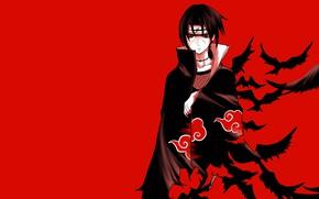 Картинка Наруто, Naruto, красный фон, Учиха Итачи