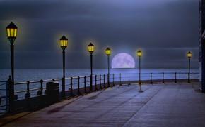 Картинка море, ночь, луна, фонари
