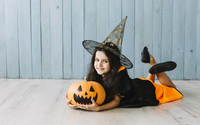 Картинка улыбка, праздник, девочка, Halloween, тыква, Хэллоуин, колпак