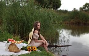 Картинка девушка, арбуз, платье, ножки, Евгения Пятницкая