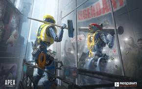 Картинка отражение, робот, art, pathfinder, apex legends, MRVN