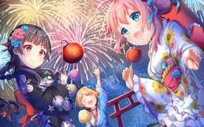Картинка девочки, фестиваль, яблоки в карамели
