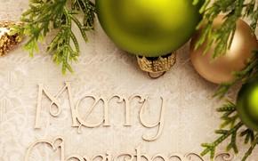 Картинка фон, праздник, надпись, шары, игрушки, Рождество, Новый год, боке, Merry Christmas, хвойные ветки