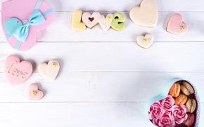 Картинка коробка, подарок, сердце, розы, colorful, love, heart, romantic, roses, cookies, macaron, gift box, макаруны