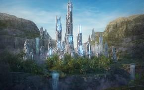 Картинка растительность, водопад, башни, Dreamstate Socal, withclouds