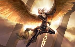 Картинка девушка, свет, полет, поза, оружие, крылья, ангел, фэнтези, арт