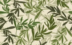 Картинка листья, зеленый, фон, узор
