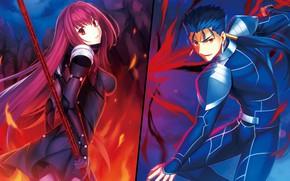 Картинка девушка, парень, персонажи, лансер, Fate / Grand Order, Судьба великая кампания