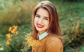 Обои девушка, улыбка, волосы, Emilie, Lods Franck