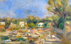 Картинка картина, городской пейзаж, 1910, Пьер Огюст Ренуар, Pierre Auguste Renoir, Cagnes Landscape