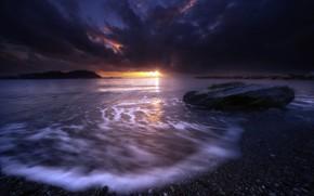 Картинка солнце, закат, берег