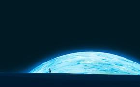 Картинка ночь, луна, девочка