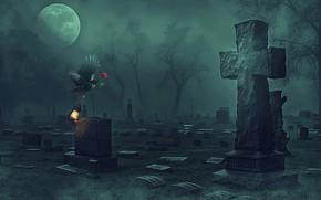 Картинка роза, крест, кладбище, ворон