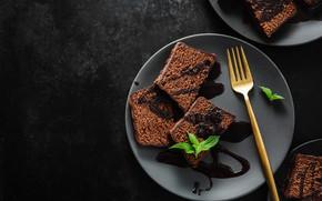 Картинка тарелка, пирожное, chocolat, шоколадное