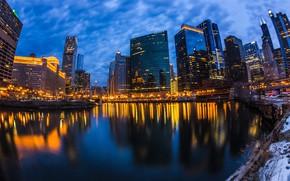 Картинка огни, дома, Чикаго, США, Wolf Point