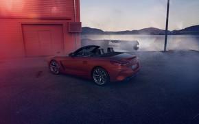 Картинка красный, берег, здание, BMW, стоянка, родстер, водоём, BMW Z4, First Edition, M40i, Z4, 2019, G29