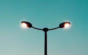 Картинка небо, свет, лампы, минимализм, освещение, фонарь